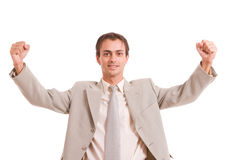 Very Successful with arms raised Stock Image