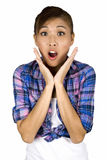 Very surprised Asian female woman. Stock Photo