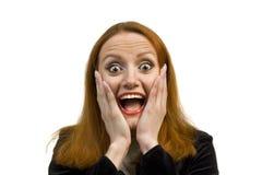 Very surprised beautiful woman Stock Image