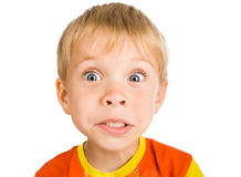 Very surprised five-year-old boy Stock Images