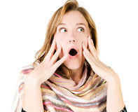 A very surprised girl Stock Photography