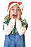 Very surprised girl Chrismas portrait Royalty Free Stock Images