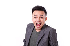 Very surprised man's emotion expression. Stunned, surprised man's emotion expression Stock Image