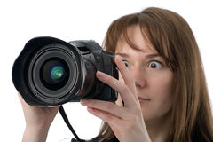 Very surprised photographer Stock Photography