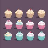 Very sweet cupcakes of different types and colors stock illustration