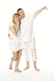 Very Sweet Middle Age Couple in White Stock Images