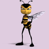 Very sweet render of a honey bee in yellow and Royalty Free Stock Images