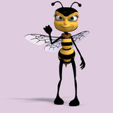 Very sweet render of a honey bee in yellow and Stock Images
