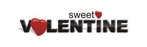 A very sweet valentine. White isolated sweet valentine vector text Royalty Free Stock Images