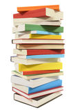 Tall stack of books, vertical, isolated white background Stock Image