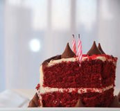 Very tasty and beautiful cake with candles.  Birthday Stock Photo