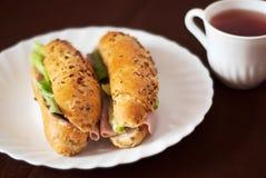 Very tasty breakfast. On brown background Stock Photos