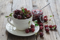 Very tasty, delicious, sweet berry jam, mousse. Dense cherry mar Stock Image