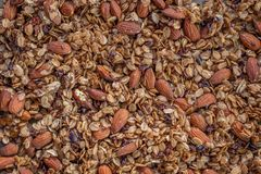 Organic homemade Granola Cereal with oats, almond. Very tasty Fresh baked Organic homemade Granola Cereal with oats, almond royalty free stock photography