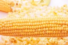 Very tasty fresh corn and popcorn Royalty Free Stock Photos