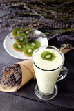 Very tasty smoothies. Smoothie with banana and kiwi Stock Images