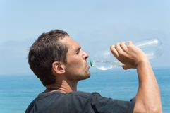 Very thirsty man Royalty Free Stock Images