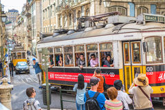 Very touristic and busy place in Lisbon downtown Portugal-Europe Stock Photography