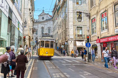 Very touristic place in the old part of Lisbon, Portugal, Europe Royalty Free Stock Photo