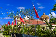 Catholic church in Philippines. A very traditional catholic church in downtown Santa Fe, Bantayan, Philippines Royalty Free Stock Photo