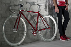 This is very trendy, red fixie bike Royalty Free Stock Image