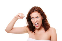 Very upset and angry woman Stock Photos