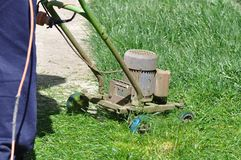 Lawn Mower invention. Very useful invention of a electric lawn mower stock images