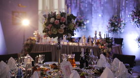 Very well decorated wedding tables.  stock footage