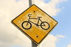 Very worn bike crossing sign Royalty Free Stock Image