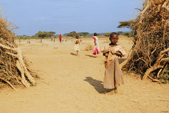 Very young girl from Masai tribe Royalty Free Stock Images