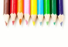 Verzadigde kleuren van kleurpotloden Royalty-vrije Stock Foto's