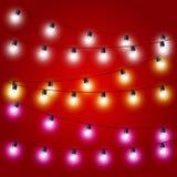 Verzakken vastgebonden van Kerstmislichten - Carnaval Stock Foto