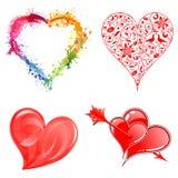 Verzamel de Harten van de Dag van Valentijnskaarten Stock Afbeeldingen