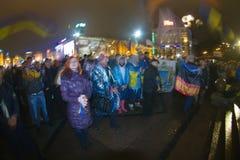 Verzameling op Maidan voor de EU Stock Fotografie