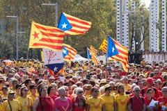 Verzamelings veeleisende onafhankelijkheid voor Catalonië Stock Fotografie