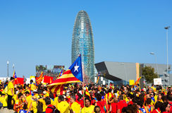 Verzamelings veeleisende onafhankelijkheid voor Catalonië Stock Foto