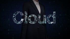 Verzamelt het onderneemster geraakte scherm zich, Talrijke punten om tot een typo Wolk te leiden, `-wolk ` gegevensverwerkingscon vector illustratie