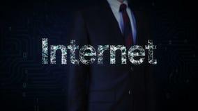 Verzamelt het zakenman geraakte scherm zich, Talrijke punten om tot een ` typo Internet ` te leiden, wolk gegevensverwerkingsconc stock illustratie