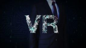Verzamelt het zakenman geraakte scherm zich, talrijke punten om tot een VR-teken, Virtueel Werkelijkheidsconcept, laag-veelhoekwe stock illustratie