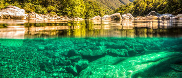 Verzasca River Half Submerged View, Switzerland Stock Photos