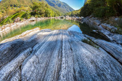 Verzasca River - Rock Formation Stock Image