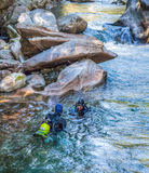Verzasca River Scuba Divers Stock Photo
