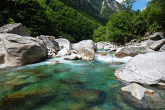 Verzasca Valley in Ticino. Flowing water of a mountain stream in Verzasca valley in Ticino, Switzerland Stock Images