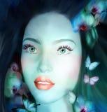 Verzauberndes Damenporträt mit Orchideen und Schmetterlingen lizenzfreie abbildung