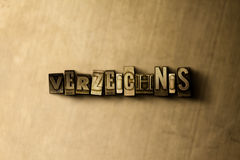 VERZEICHNIS - close-up of grungy vintage typeset word on metal backdrop Royalty Free Stock Photography