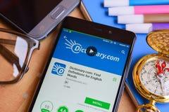 verzeichnis COM: Entdeckungs-Definitionen für Englisch fasst Entwickler-APP auf Smartphone-Schirm ab lizenzfreie stockfotos