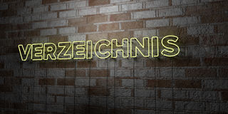 VERZEICHNIS - Glowing Neon Sign on stonework wall - 3D rendered royalty free stock illustration Stock Photos