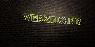 VERZEICHNIS -Realistic Neon Sign on Brick Wall background - 3D rendered royalty free stock image Stock Photos