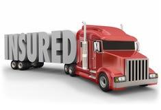 Verzekerde Word van de Vrachtwagenaanhangwagen 3d Verzekeringsdekking stock illustratie