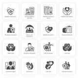 Verzekering en de Medische Diensten Geplaatste Pictogrammen Stock Afbeeldingen